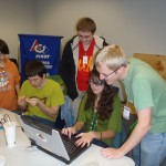 Our student programmers working with one of our college mentors