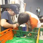 Ryan and Tyler working on the drive-train.