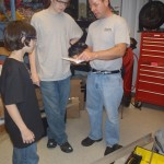 Nick giving the safety test to a few students.