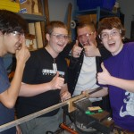 John Michael, Evan, Zach, and Stephen having fun in the mechanical room.