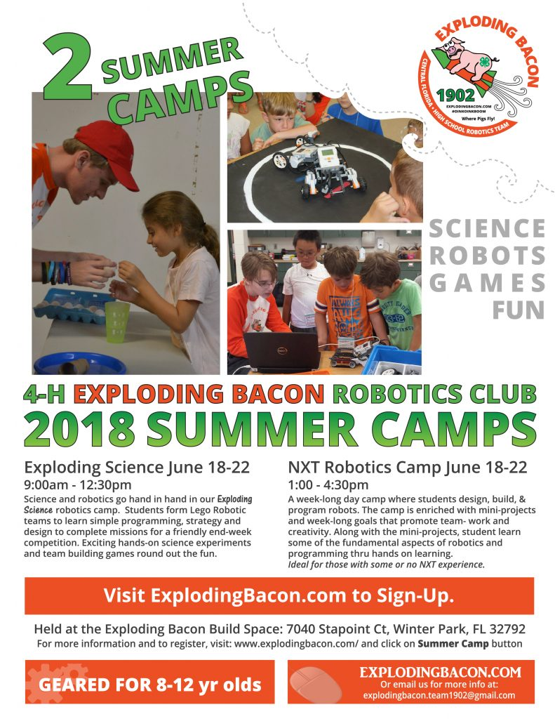 2018 Summer Camps Exploding Bacon First Robotics Team 1902